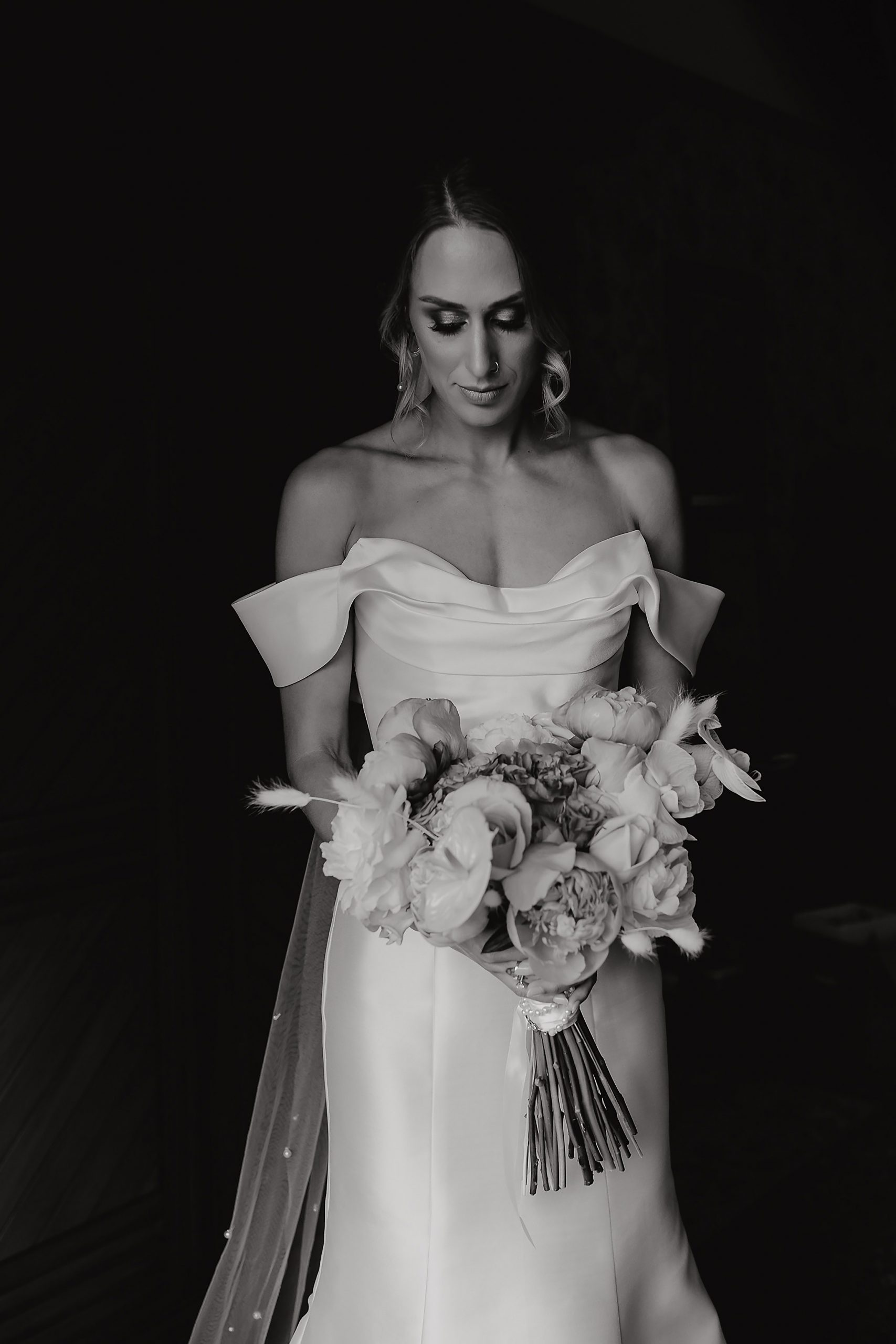 bride portrait black and white wedding photographer christchurch
