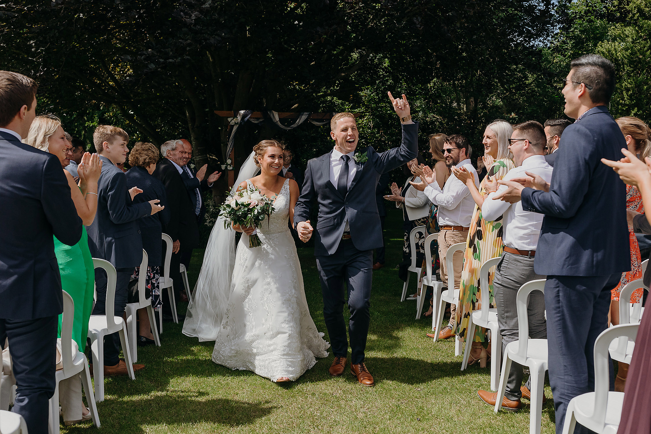 bride and groom just married wedding photographer christchurch