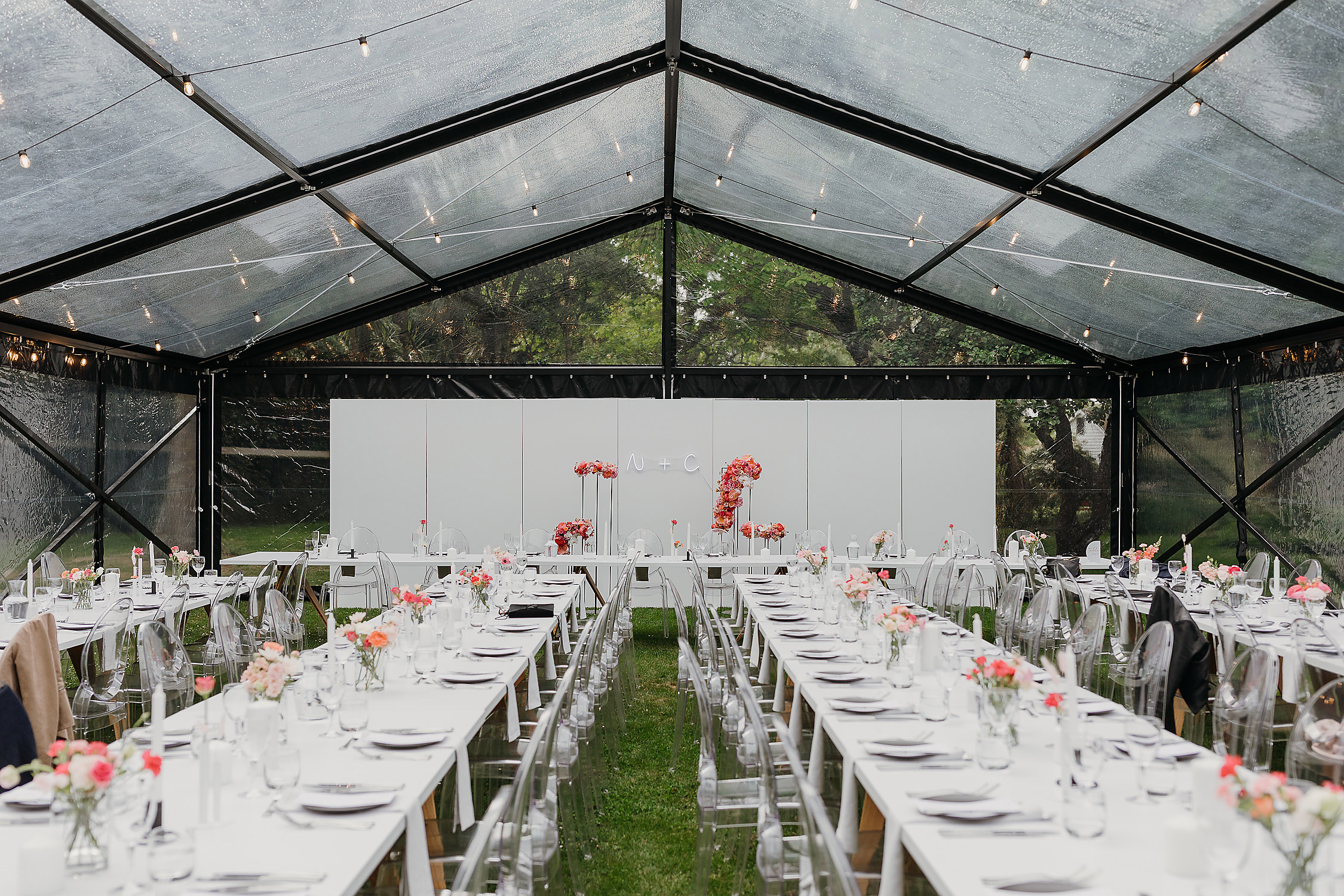 wedding clear marquee reception set up wedding photographer christchurch