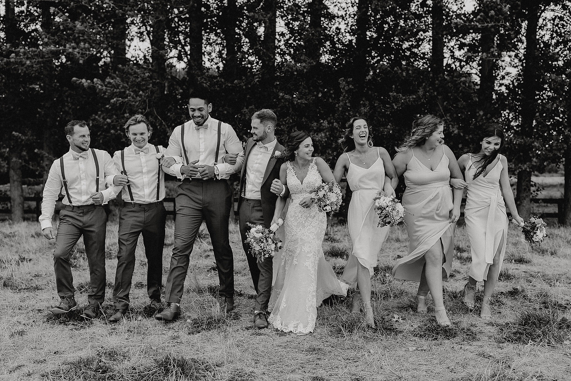 Christchurch Wedding Photographer wedding photo of fun bridal party at Lacebark Function Centre Christchurch Rebecca Claridge Photography