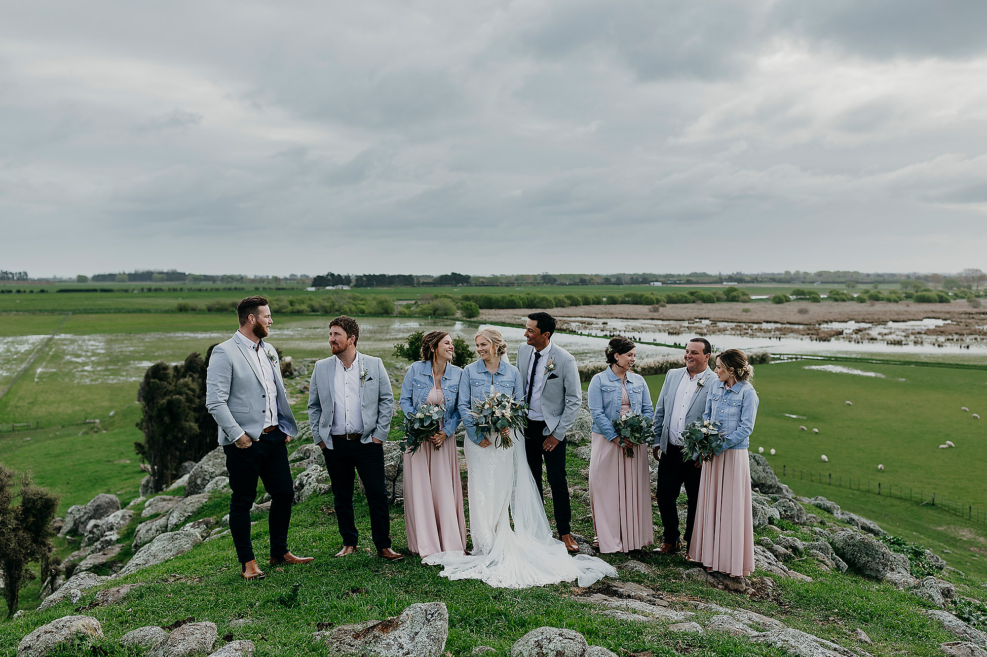 bridal party photo bridesmaids and groomsmen christchurch wedding photographer