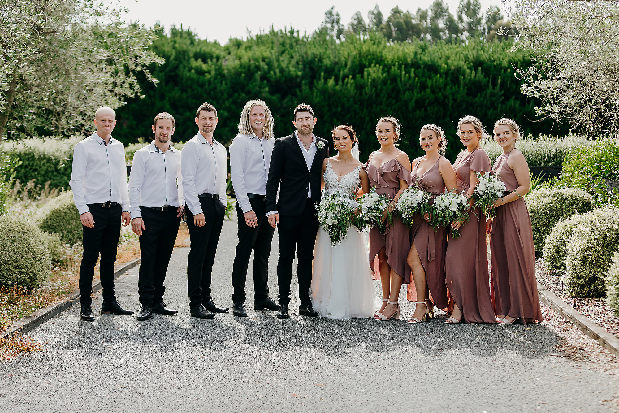 bridal party photo bridesmaids and groomsmen melton estate christchurch wedding photographer