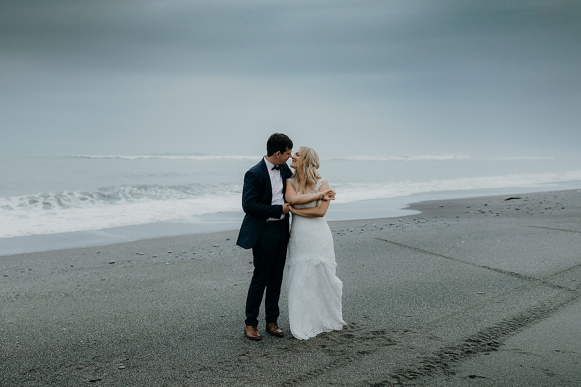 Christchurch Wedding Photographer bride and groom beach wedding hokitika New Zealand Rebecca Claridge Photography