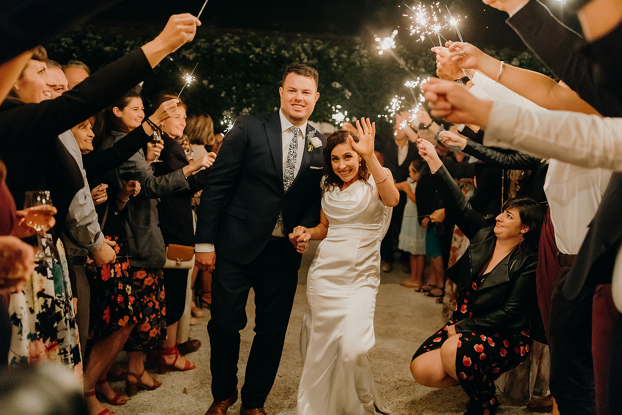 bride and groom sparkler exit Christchurch Wedding Photographer cossars wineshed