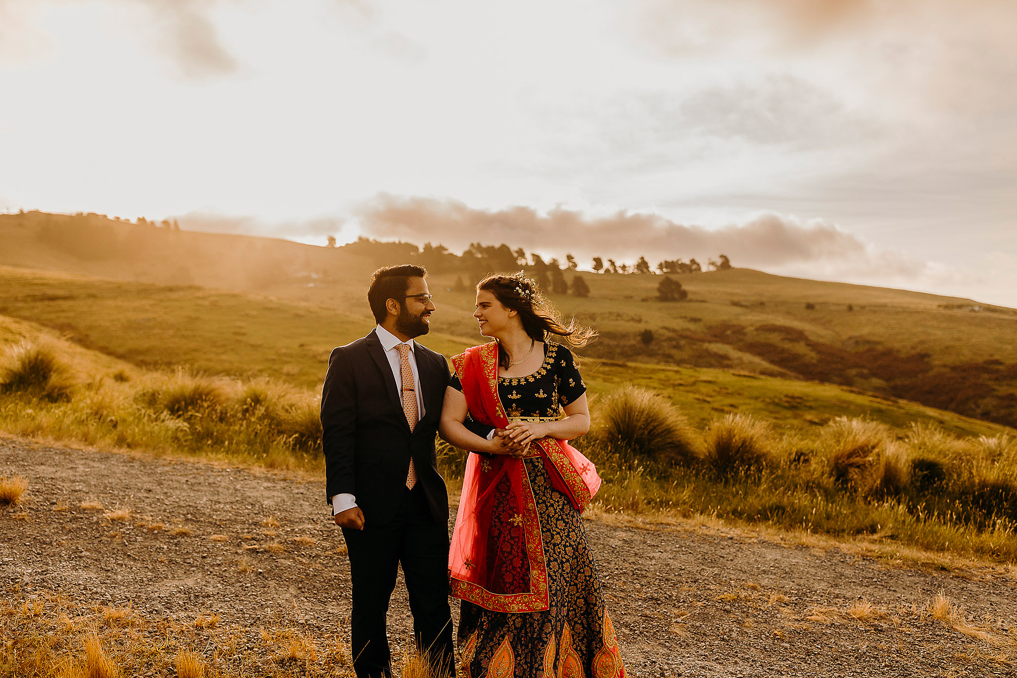 bride and groom together on the port hills at sunset indian wedding Christchurch Wedding Photographer