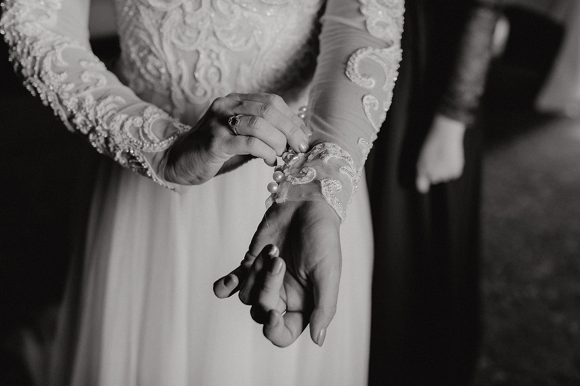 bride wedding dress lace detail while getting dressed Christchurch Wedding Photographer