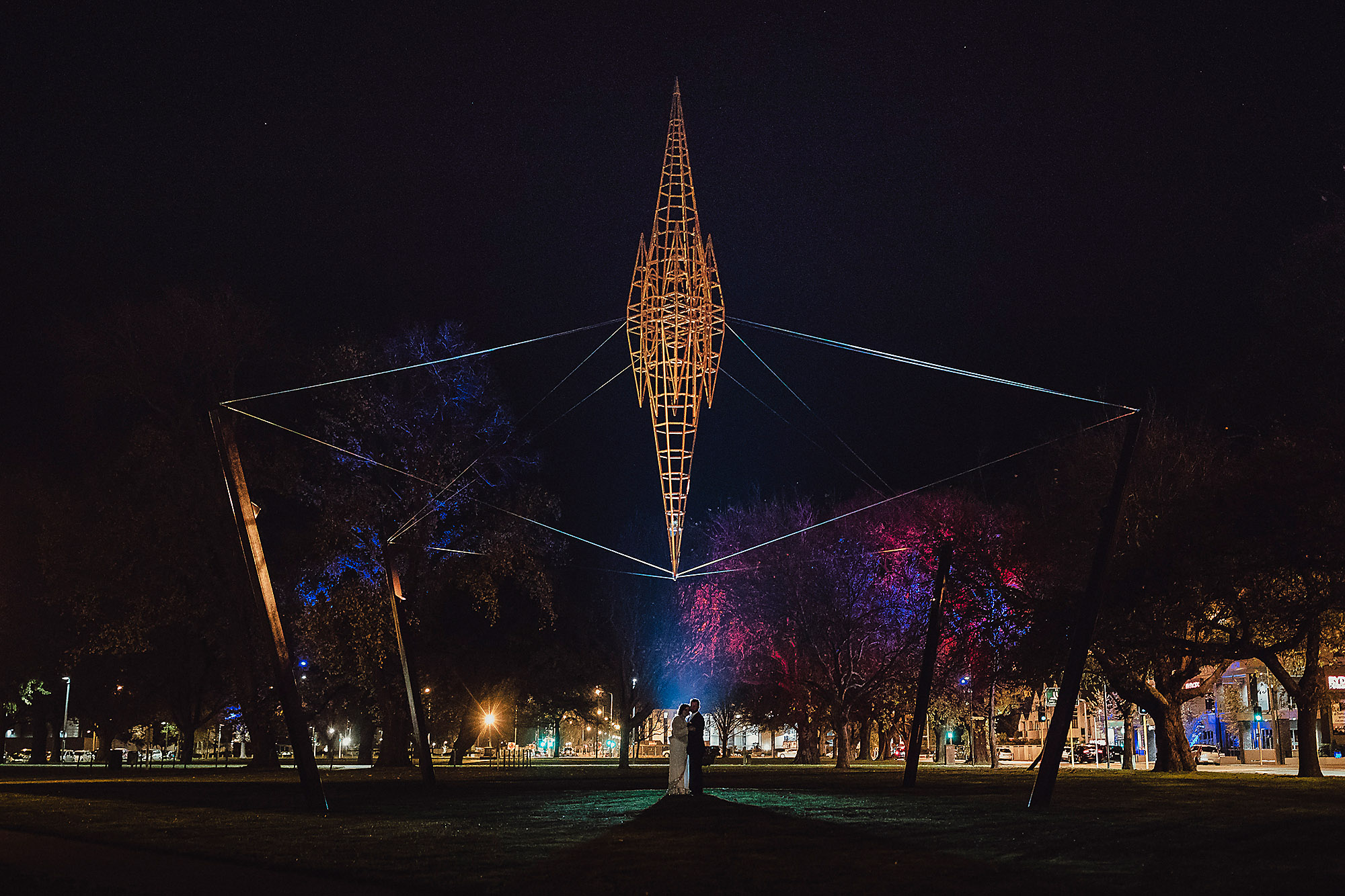 creative light night photo at wedding with bride and groom christchurch wedding photographer